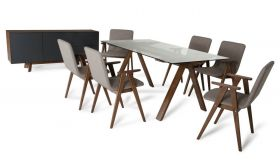 VIG Modrest Maddox & Weylyn Modern Dining Room Set in Walnut