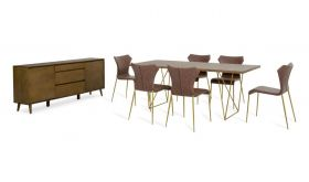 VIG Modrest Marcia Modern Dining Room Set in Tobacco