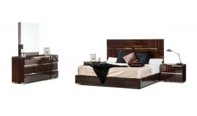 VIG Modrest Picasso Italian Modern Bedroom Set in Ebony Lacquer