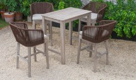 VIG Renava Fiji Outdoor Bar Table Set in Beige
