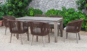 VIG Renava Fiji Outdoor Dining Table Set in Brown