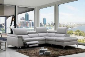 J&M Viola Premium Leather Sectional Sofa in Light Grey with Left Facing Chaise