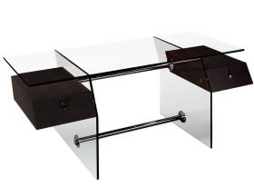 Lander Modern Office Desk Set in Wenge Veneer