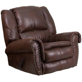 Contemporary, Breathable Comfort Padre Espresso Fabric Rocker Recliner with Brass Accent Nails [WA-1459-690-GG]