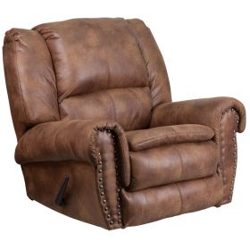 Contemporary, Breathable Comfort Padre Almond Fabric Rocker Recliner with Brass Accent Nails [WA-1459-691-GG]