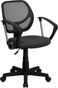 Low Back Gray Mesh Swivel Task Chair with Arms [WA-3074-GY-A-GG]