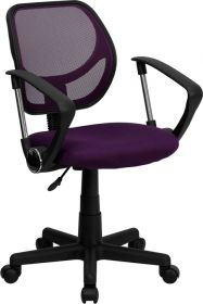 Low Back Purple Mesh Swivel Task Chair with Arms [WA-3074-PUR-A-GG]