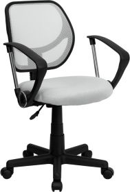 Low Back White Mesh Swivel Task Chair with Arms [WA-3074-WHT-A-GG]