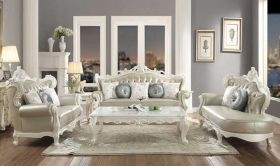 Wallace Traditional Living Room Set in Antique Pearl