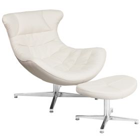 White Leather Cocoon Chair with Ottoman [ZB-41-COCOON-GG]