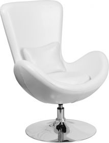 White Leather Egg Series Reception-Lounge-Side Chair [CH-162430-WH-LEA-GG]