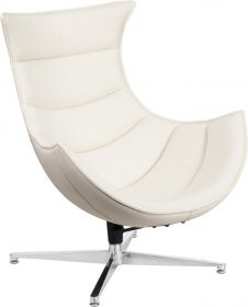 White Leather Swivel Cocoon Chair [ZB-32-GG]