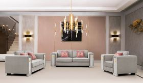 William Traditional Living Room Set in Pink