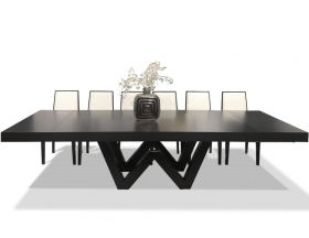 Redondo Modern Dining Room Set in Matte Gray Oak & Black