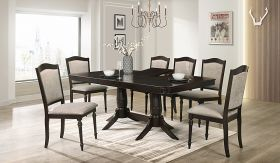 Windsor Contemporary Dining Room Set in Dark Brown/White