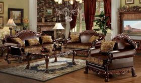 Winona Traditional Living Room Set in Brown PU & Cherry Oak