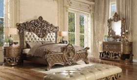 Winthrop Traditional Bedroom Set in Antique Gold & Brown