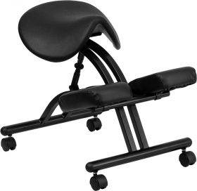 Ergonomic Kneeling Chair with Black Saddle Seat [WL-1421-GG]