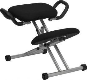 Ergonomic Kneeling Chair in Black Fabric with Handles [WL-1429-GG]