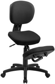 Mobile Ergonomic Kneeling Posture Task Chair in Black Fabric with Back [WL-1430-GG]