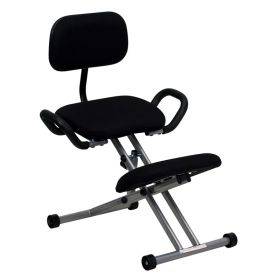 Ergonomic Kneeling Chair in Black Fabric with Back and Handles [WL-3439-GG]