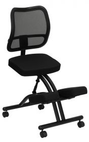 Mobile Ergonomic Kneeling Chair with Black Curved Mesh Back and Fabric Seat [WL-3520-GG]