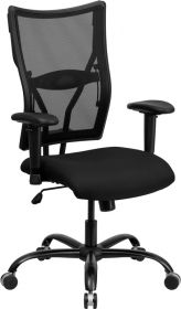 HERCULES Series 400 lb. Capacity Big & Tall Black Mesh Executive Swivel Office Chair with Height Adjustable Arms [WL-5029SYG-A-GG]
