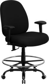 HERCULES Series 400 lb. Capacity Big & Tall Black Fabric Drafting Chair with Extra WIDE Seat and Height Adjustable Arms [WL-715MG-BK-AD-GG]