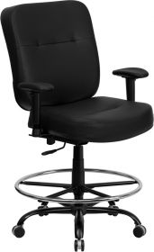 HERCULES Series 400 lb. Capacity Big & Tall Black Leather Drafting Chair with Extra WIDE Seat and Height Adjustable Arms [WL-735SYG-BK-LEA-AD-GG]