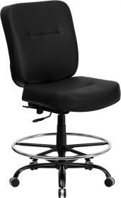 HERCULES Series 400 lb. Capacity Big & Tall Black Leather Drafting Chair with Extra WIDE Seat [WL-735SYG-BK-LEA-D-GG]