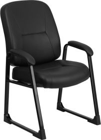 HERCULES Series 400 lb. Capacity Big & Tall Black Leather Executive Side Chair with Sled Base [WL-738AV-LEA-GG]