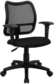 Mid-Back Mesh Swivel Task Chair with Black Fabric Padded Seat and Height Adjustable Arms [WL-A277-BK-A-GG]