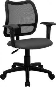 Mid-Back Mesh Swivel Task Chair with Gray Fabric Padded Seat and Height Adjustable Arms [WL-A277-GY-A-GG]