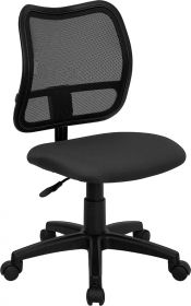 Mid-Back Mesh Swivel Task Chair with Gray Fabric Padded Seat [WL-A277-GY-GG]