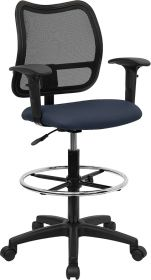 Mid-Back Mesh Drafting Chair with Navy Blue Fabric Seat and Height Adjustable Arms [WL-A277-NVY-AD-GG]