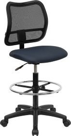 Mid-Back Mesh Drafting Chair with Navy Blue Fabric Seat [WL-A277-NVY-D-GG]