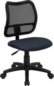 Mid-Back Mesh Swivel Task Chair with Navy Blue Fabric Padded Seat [WL-A277-NVY-GG]