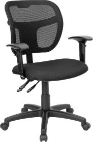Mid-Back Mesh Swivel Task Chair with Black Fabric Padded Seat and Height Adjustable Arms [WL-A7671SYG-BK-A-GG]