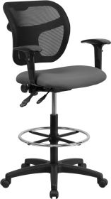 Mid-Back Mesh Drafting Chair with Gray Fabric Seat and Height Adjustable Arms [WL-A7671SYG-GY-AD-GG]