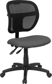 Mid-Back Mesh Swivel Task Chair with Gray Fabric Padded Seat [WL-A7671SYG-GY-GG]