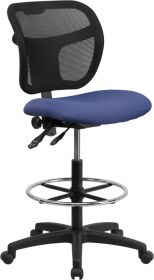 Mid-Back Mesh Drafting Chair with Navy Blue Fabric Seat [WL-A7671SYG-NVY-D-GG]