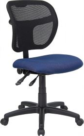 Mid-Back Mesh Swivel Task Chair with Navy Blue Fabric Padded Seat [WL-A7671SYG-NVY-GG]