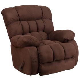 Contemporary Softsuede Fudge Microfiber Rocker Recliner [WM-9200-530-GG]