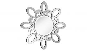 "Woodbury 32"" Modern Wall Mirror in Clear & White"