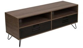 Woodridge Rustic Wood Grain TV Stand with Metal Drawers in Brown