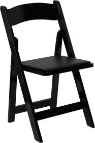 HERCULES Series Black Wood Folding Chair with Vinyl Padded Seat [XF-2902-BK-WOOD-GG]