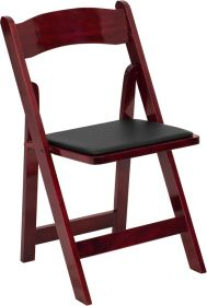 HERCULES Series Mahogany Wood Folding Chair with Vinyl Padded Seat [XF-2903-MAH-WOOD-GG]
