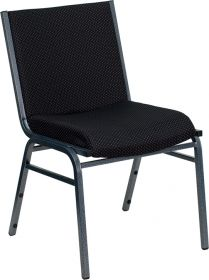HERCULES Series Heavy Duty, 3'' Thickly Padded, Black Patterned Upholstered Stack Chair [XU-60153-BK-GG]
