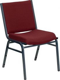 HERCULES Series Heavy Duty, 3'' Thickly Padded, Burgundy Patterned Upholstered Stack Chair [XU-60153-BY-GG]