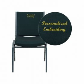 Embroidered HERCULES Series Heavy Duty, 3'' Thickly Padded, Green Patterned Upholstered Stack Chair with Ganging Bracket
